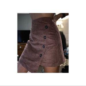 Asymmetrical corduroy skirt